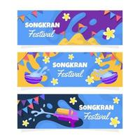 Colorful Songkran Festivity Banner Collection vector
