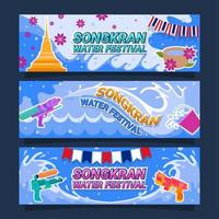 Songkran Water Festival Banner Design Set vector