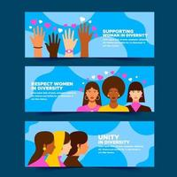 Women Diversity in Unity Banner Collection vector