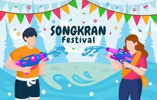Couple Water Splashing Songkran Festival vector