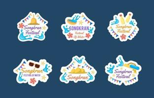 Flat Songkran Festival Sticker Collection vector