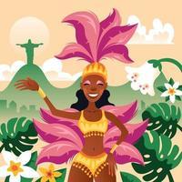 Dancer Woman Celebrating Rio Carnival Festival vector