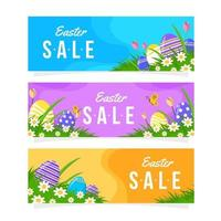 Flat Easter Sale Banner Collection vector