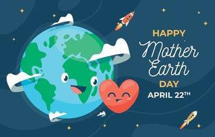 Happy Mother Earth Flat Design vector