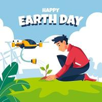 Planting On Earth Day vector