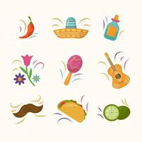 colección de iconos de festividad plana cinco de mayo vector