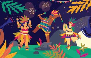Brazilian Playing Music and Dancing on Rio de Janeiro Carnival Illustration vector