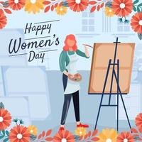 Creative Women Paint on Canvas in Studio vector