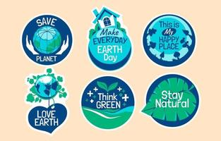 Sticker Collection for Earth Day Concept vector