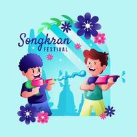 dos niños jugando pistola de agua en el festival de songkran vector