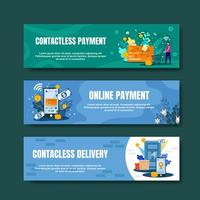 Contactless Payment Banner Set vector
