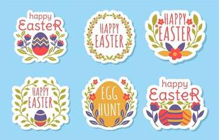 Easter Sticker with Blooming Flower and Foliage