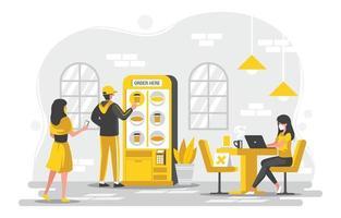 UNTACT Self Service Kiosk in Cafe Shop Concept vector
