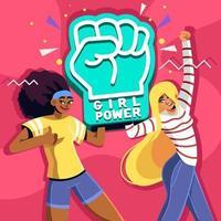 conciencia de apoyo al poder femenino vector