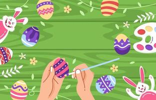 Easter Eggs with Green Background vector