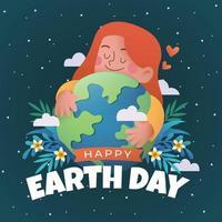 Happy Earth Day With Girl Hug The Earth vector