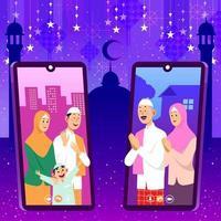 Families Greet Each Other Via Online When Islamic Eid Al-Fitr vector