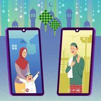 Video Call Concept For Islamic Eid Al-Fitr vector