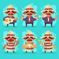 conjunto de personajes de mariachi en cinco de mayo vector