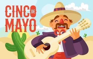 mariachi tocando la guitarra el cinco de mayo vector