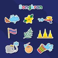 Set of Songkran Festival Sticker vector