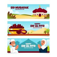 Eid Al Fitr Banner Set vector