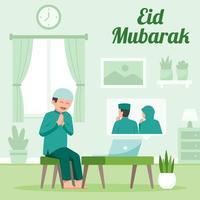Season Greeting using Video Call on Eid Illustration vector