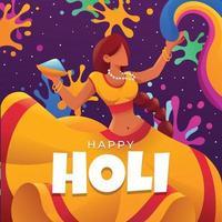A Girl Dance For Celebrate Holi Festival vector