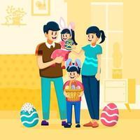 Happy Family Ready For Easter Egg Festival vector