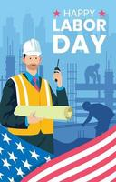 Waving American Flag With Construction Labor Men vector