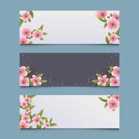 Set of Cherry Blossom Spring Flower Banner vector