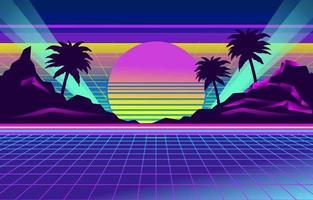 paisaje retro futurismo vector