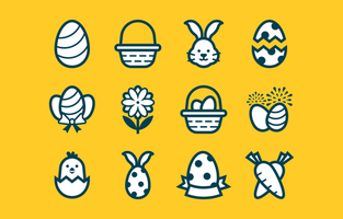 Easter Festivity Icon Set in Flat Style vector