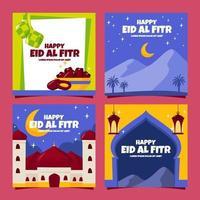 Eid Al Fitr Card Set vector