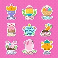 Set of Happy Easter Stickers vector
