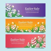 Colorful Easter Sale Banners in Realistic Style vector