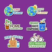 Earth Day Awareness Sticker Set vector