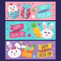 Cute happy easter bunny banners vector