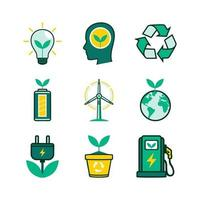 Green Technology Eco Icons Collection vector