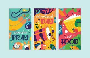 banner de ilustración colorida de vector para la celebración de Ramadán Kareem eid
