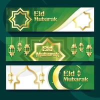 Peaceful Gold Eid Mubarak Banner vector