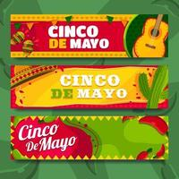 brillante y divertido banner de cinco de mayo vector
