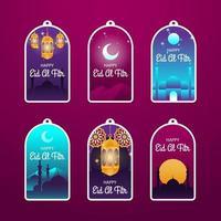 Eid Al Fitr Label Set vector
