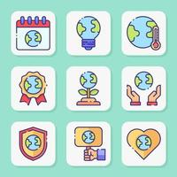 Happy Earth Day Icon Set vector