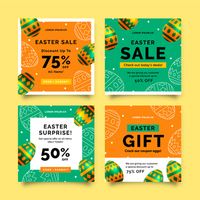 Easter Sale Social Media Post Collection vector