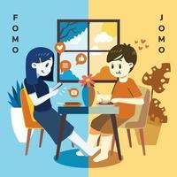 comparación fomo vs jomo vector