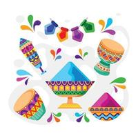 Holi Festival Icon Collection vector