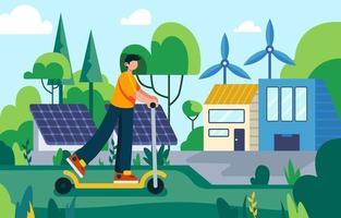 Man Enjoying Green Technology Concept vector
