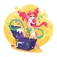 Pop Up Box With Clown, Confetti and Surprises vector