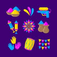Holi Icon Collection in Flat Design vector